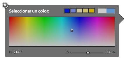 Pulsando sobre color aparece un selector de colores