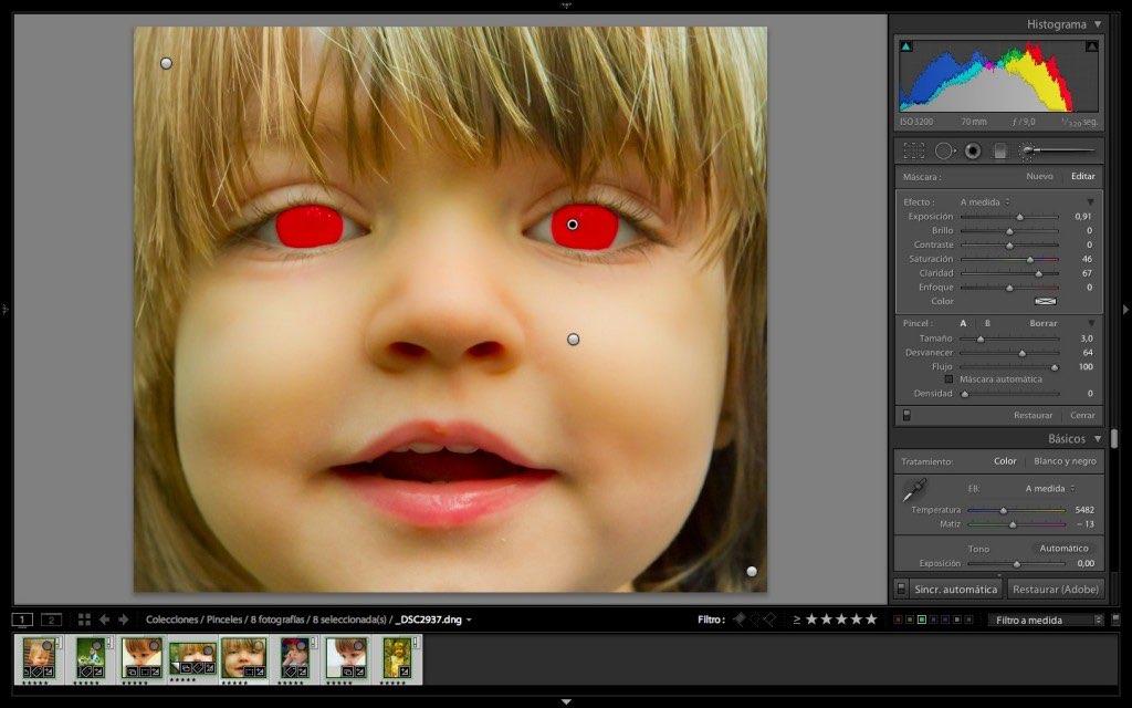Máscara de color rojo