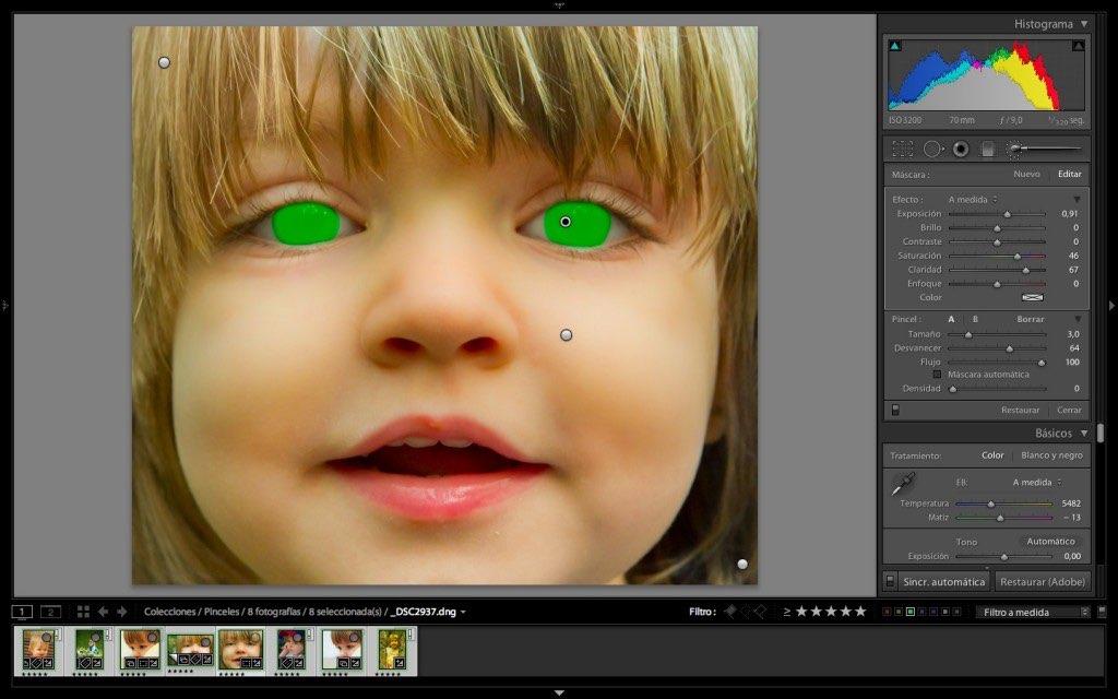 Máscara de color verde