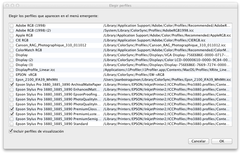 Ventana Elegir perfiles.Una vez cargados los perfiles he de seleccionar el que quiero usar.
