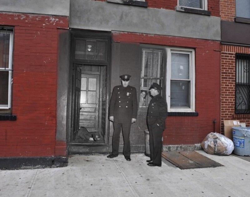 Imágenes de escenarios de crímenes superpuestas en el Nueva York moderno