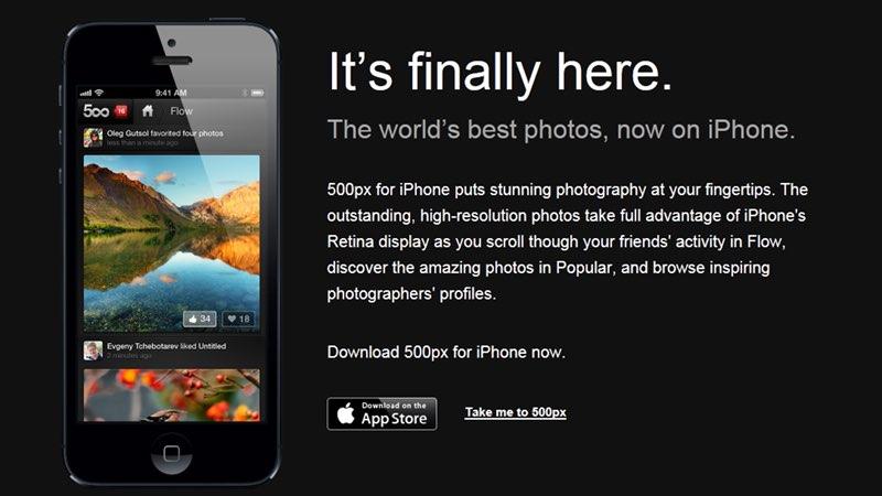 Ya está aquí 500px para iPhone