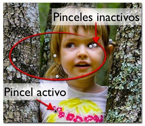 El pincel activo es el que contiene el centro con el punto negro