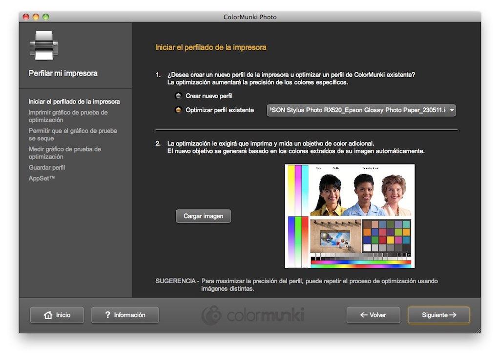 """Seleccionar """"Optimizar perfil existente"""", seleccionar el perfil y cargar una imagen"""