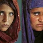 """""""La niña afgana"""" de Steve McCurry a la izquierda, y a la derecha 20 años después. © Steve McCurry"""