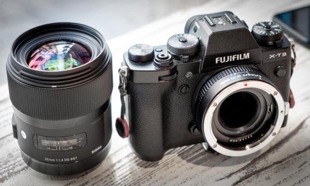 Montamos el Sigma 35mm ƒ/1,4 ART a una Fujifilm X-T3 con el adaptador Fringer EF-FX Pro II