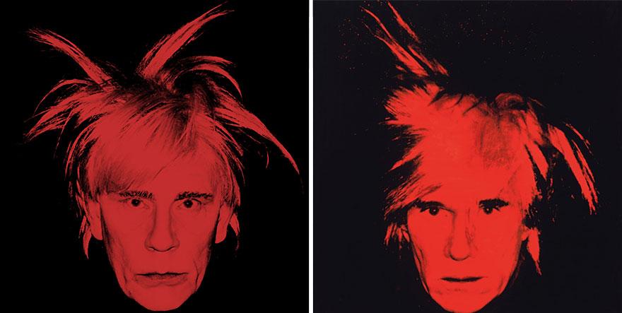 Izquierda: Sandro Miller © 2014 / Derecha: Andy Warhol © 1986 <br />  Autorretrato de Andy Warhol