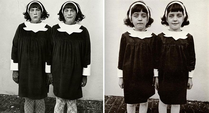 Izquierda: Sandro Miller © 2014 / Derecha: Diane Arbus © 1967 <br /> Identical Twins, Roselle, New Jersey