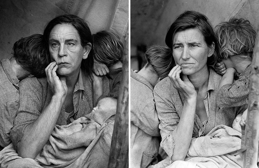Izquierda: Sandro Miller © 2014 / Derecha: Dorothea Lange © 1936 <br /> Madre migrante