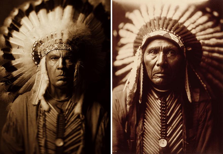Izquierda: Sandro Miller © 2014 / Derecha: Edward Sheriff Curtis © 1905 <br /> Three Horses