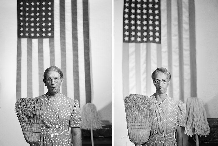 Izquierda: Sandro Miller © 2014 / Derecha: Gordon Parks © 1942 <br /> American Gothic, Washington, D.C.