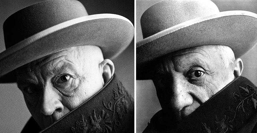 Izquierda: Sandro Miller © 2014 / Derecha: Irving Penn © 1957 <br /> Pablo Picasso