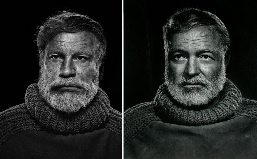 Izquierda: Sandro Miller © 2014 / Derecha: Yousuf Karsh © 1957 <br /> Ernest Hemingway