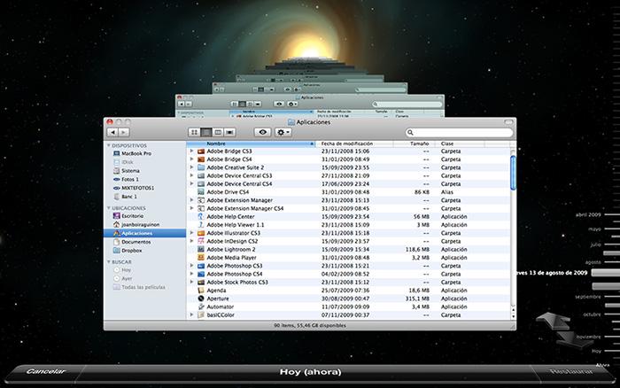 Localizando los archivos a recuperar en Time Machine