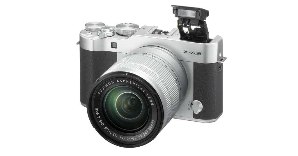 X-A3_Silver_16-50mm_frontleft_flash pop-up