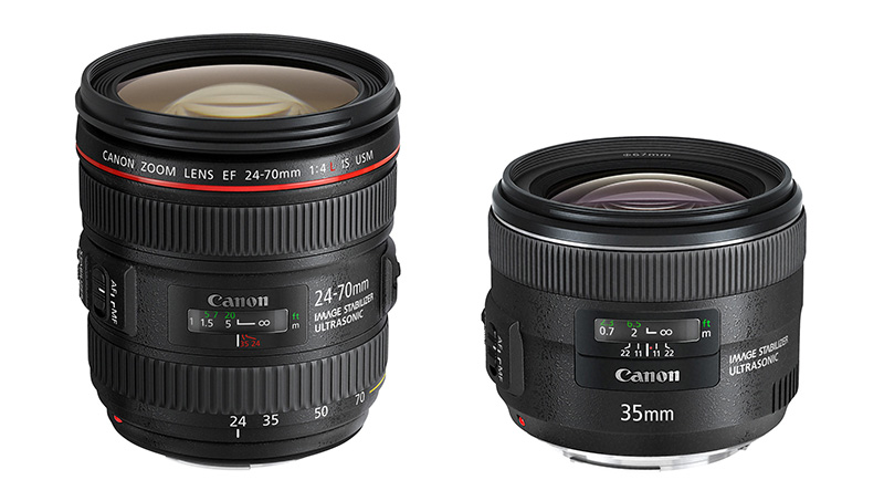 Canon 24-70mm f/4L IS USM y 35mm f/2 IS USM EF