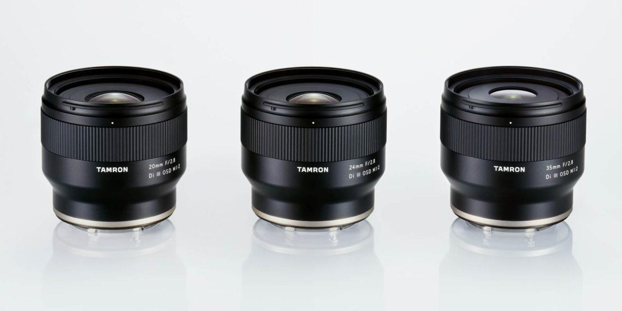 Tamron 20mm, 24mm y 35mm ƒ/2,8, nuevos objetivos fijos para Sony E-Mount (y un futuro 70-180mm ƒ/2,8)