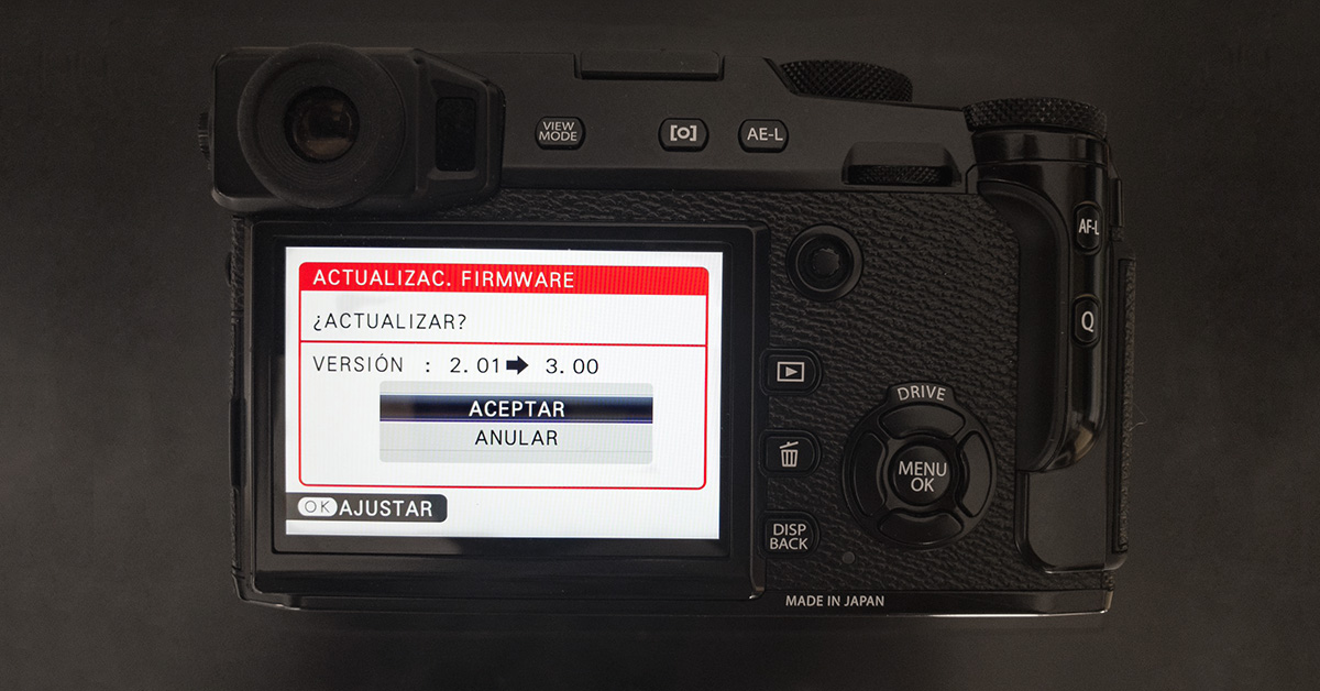 Fujifilm anuncia actualizaciones de firmware para X-H1, X-T2, X-Pro2, X-E3, X100F y GFX50S.