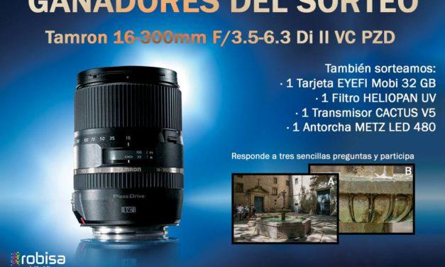 Ganadores del Sorteo Tamron 16-300mm (y otros productos)
