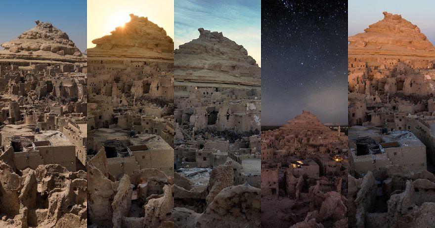 5 fotos del mismo lugar capturadas durante diferentes horas del día